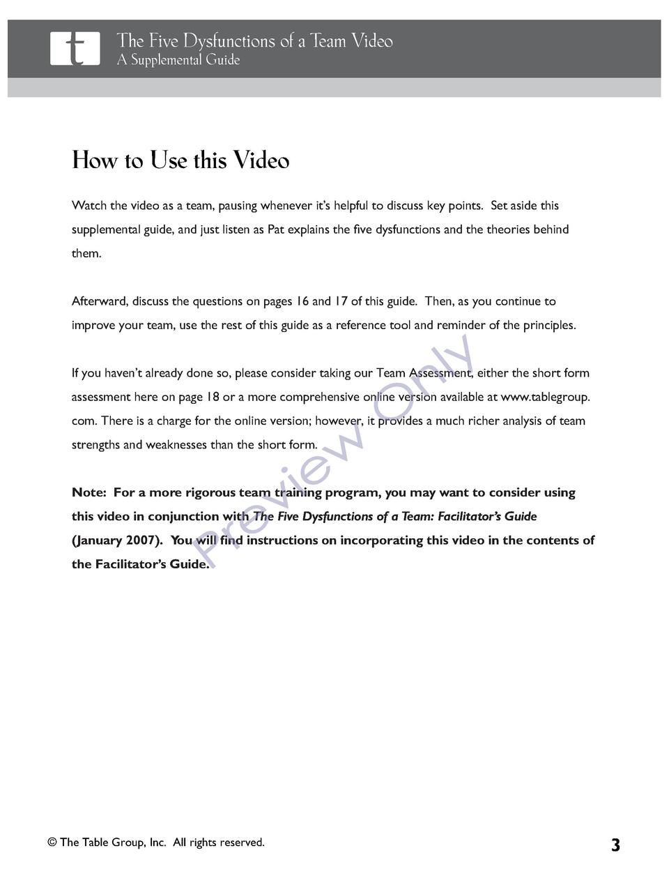 testing testing com the five dysfunctions of a team video a supplemental guide practical solutions for teams how to