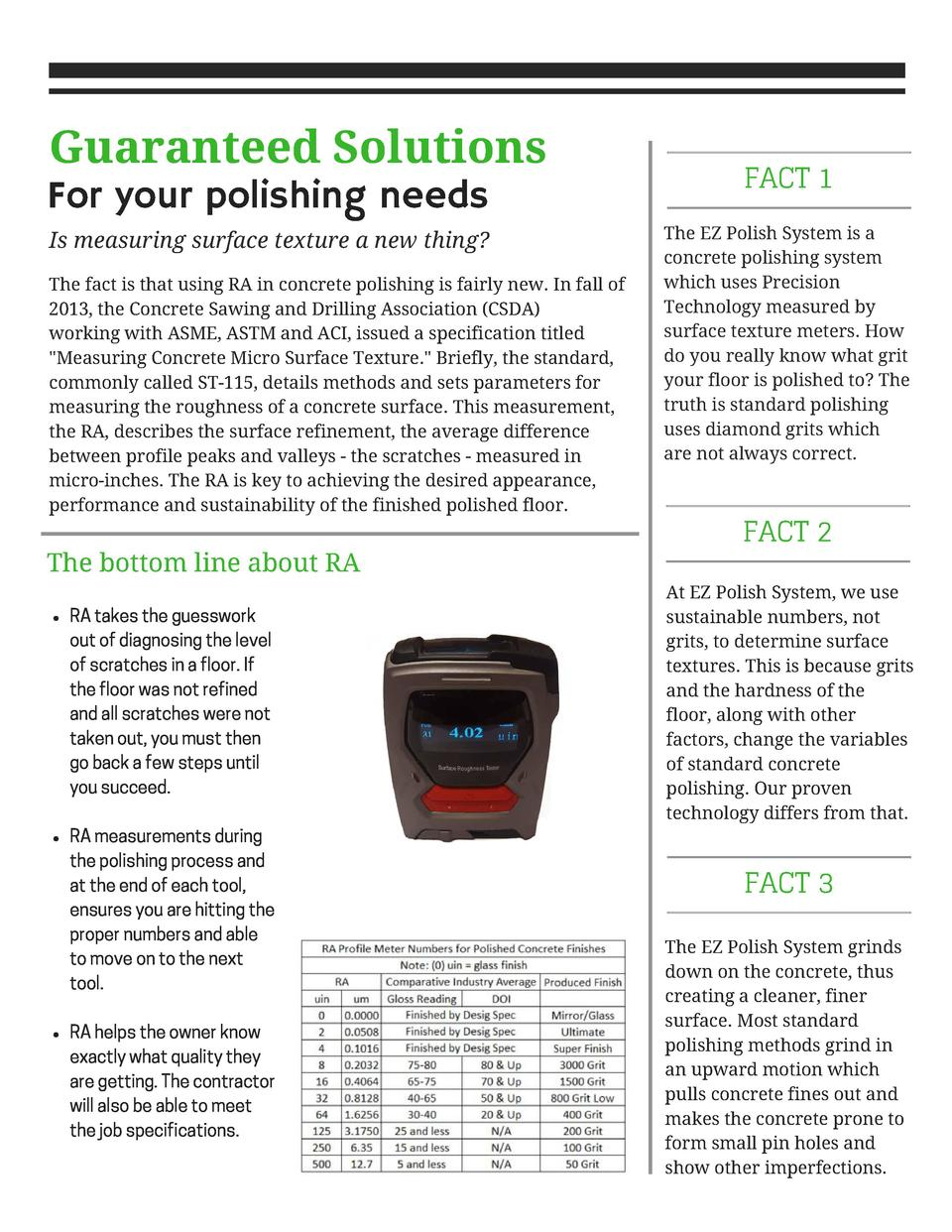 Guaranteed Solutions  For your polishing needs  Is measuring surface texture a new thing  The fact is that using RA in con...