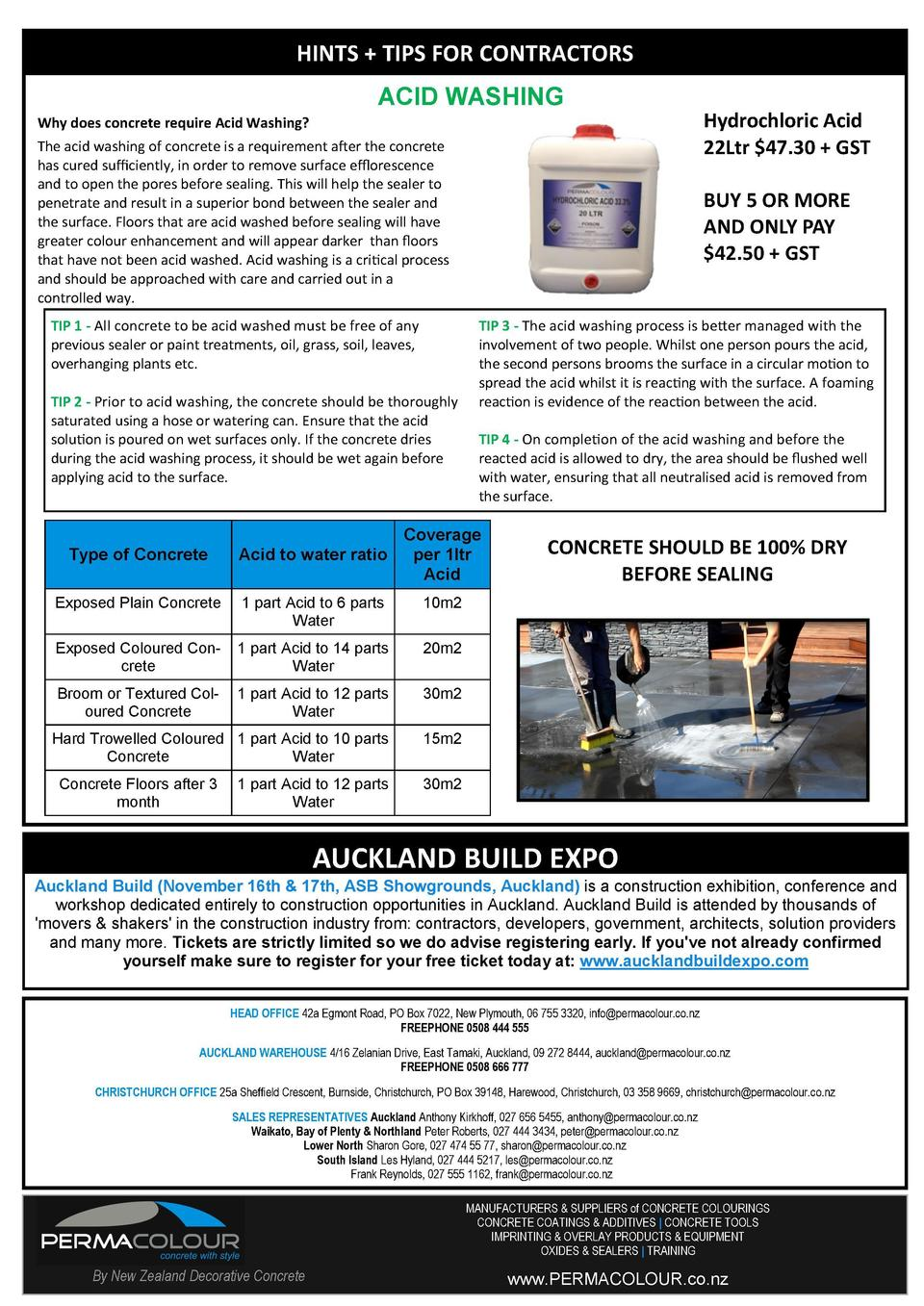 HINTS   TIPS FOR CONTRACTORS ACID WASHING Hydrochloric Acid 22Ltr  47.30   GST  Why does concrete require Acid Washing  Th...