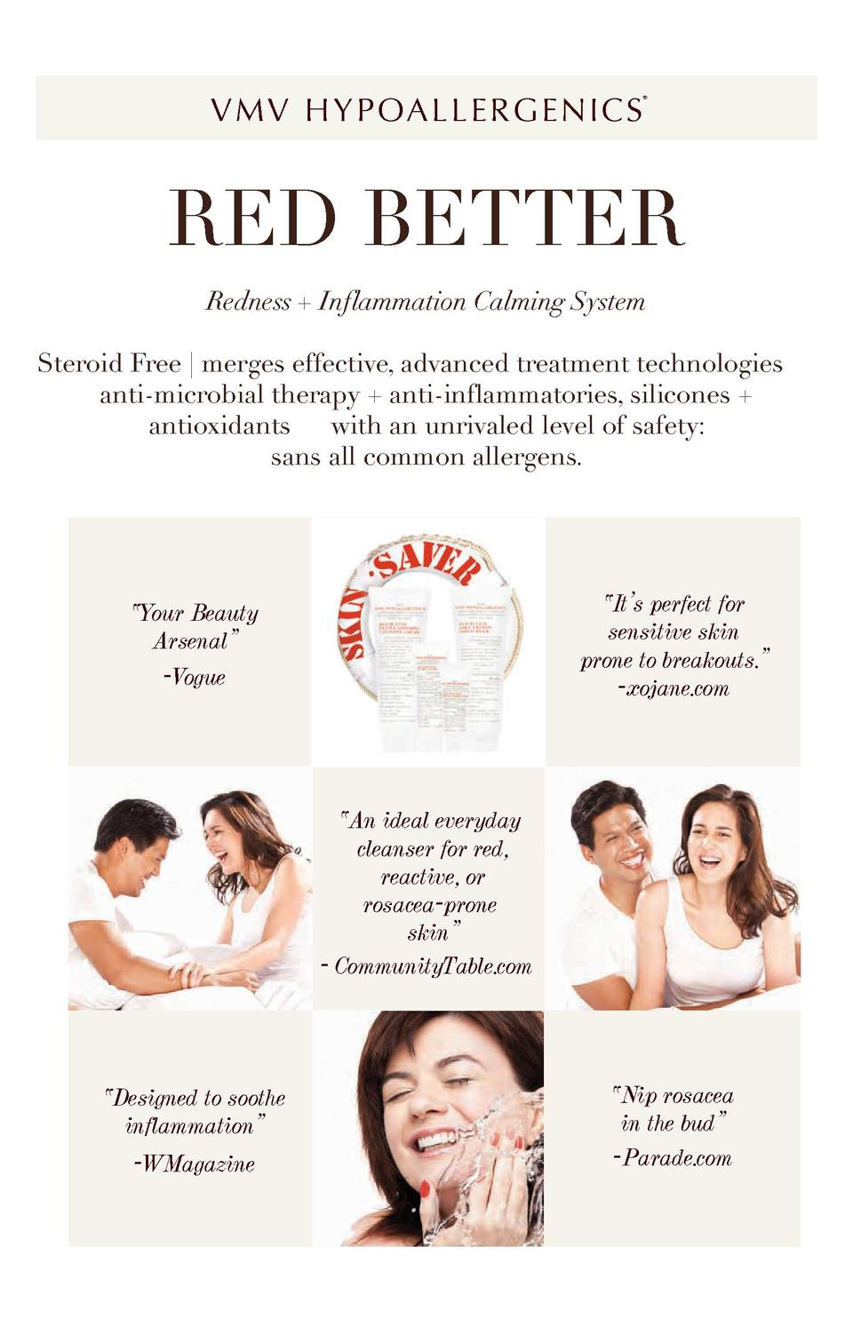 V M V H Y P OA L L E R G E N I C S      RED BETTER Redness   Inflammation Calming System Steroid Free   merges effective, ...
