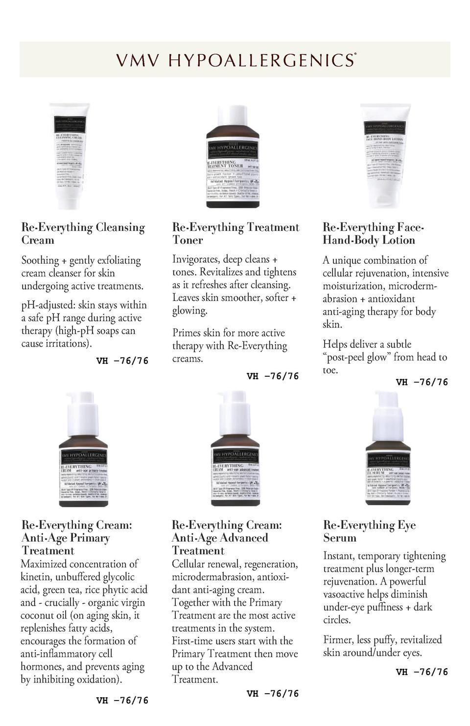 V M V H Y P OA L L E R G E N I C S      Re-Everything Cleansing Cream  Re-Everything Treatment Toner  Re-Everything FaceHa...