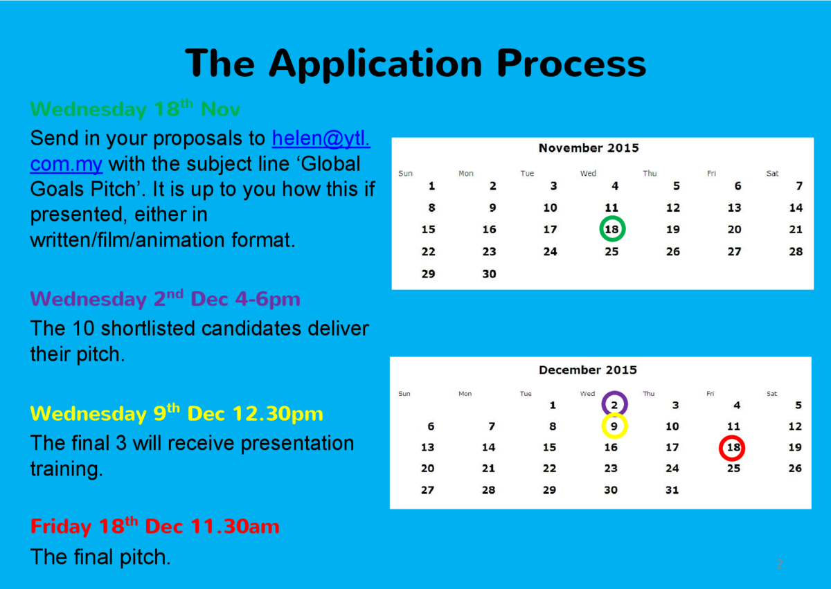 The Application Process Wednesday 18th Nov Send in your proposals to helen ytl. com.my with the subject line    Global Goa...