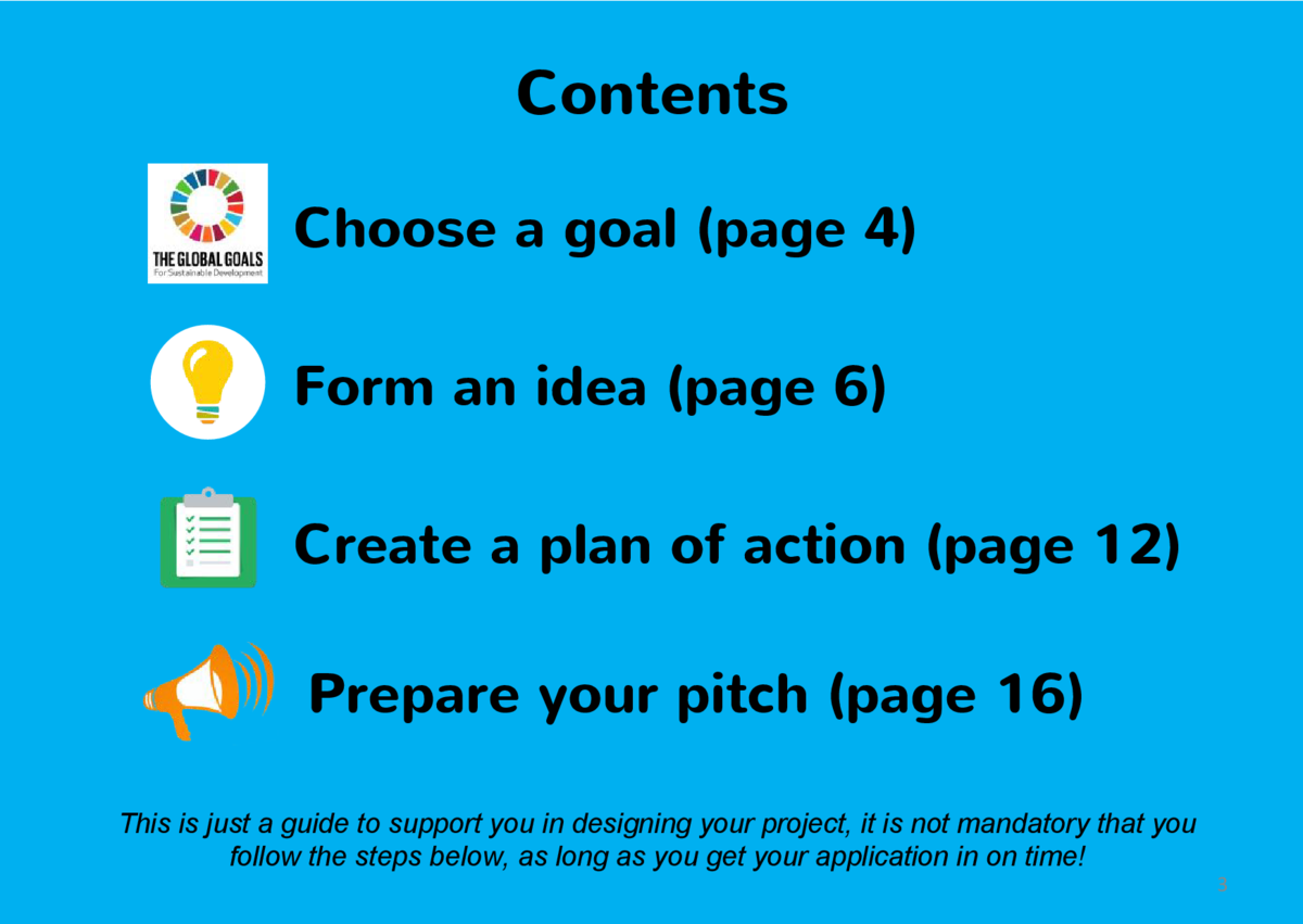 Contents Choose a goal  page 4  Form an idea  page 6  Create a plan of action  page 12  Prepare your pitch  page 16  This ...