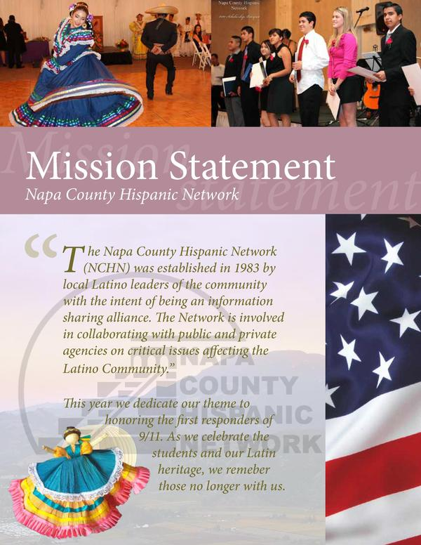 Mission Mission Statement statement Napa County Hispanic Network  T   he Napa County Hispanic Network  NCHN  was establish...