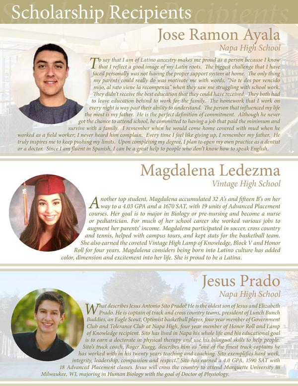 Scholarship Recipients Recipients Scholarship Jose Ramon Ayala T  Napa High School  o say that I am of Latino ancestry mak...