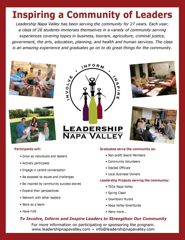 Inspiring a Community of Leaders Leadership Napa Valley has been serving the community for 26 years. Each year, Leadership...