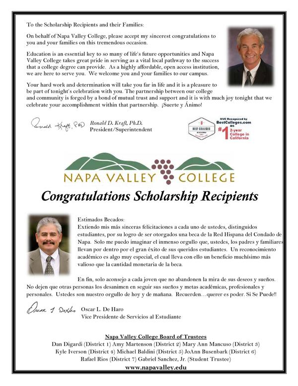 To the Scholarship Recipients and their Families  On behalf of Napa Valley College, please accept my sincerest congratulat...