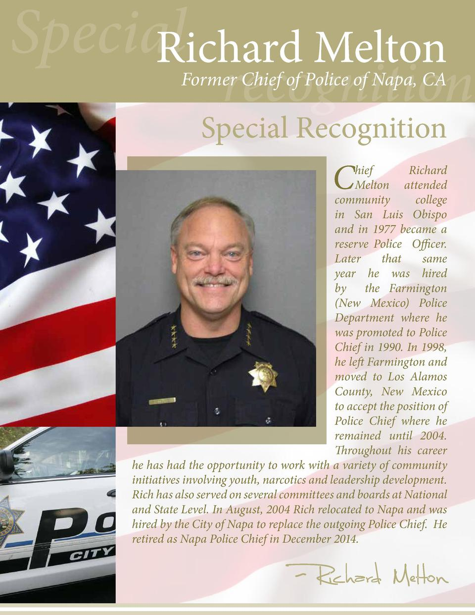 Special Richard Melton  recognition  Former Chief of Police of Napa, CA  Special Recognition  C  hief Richard Melton atten...