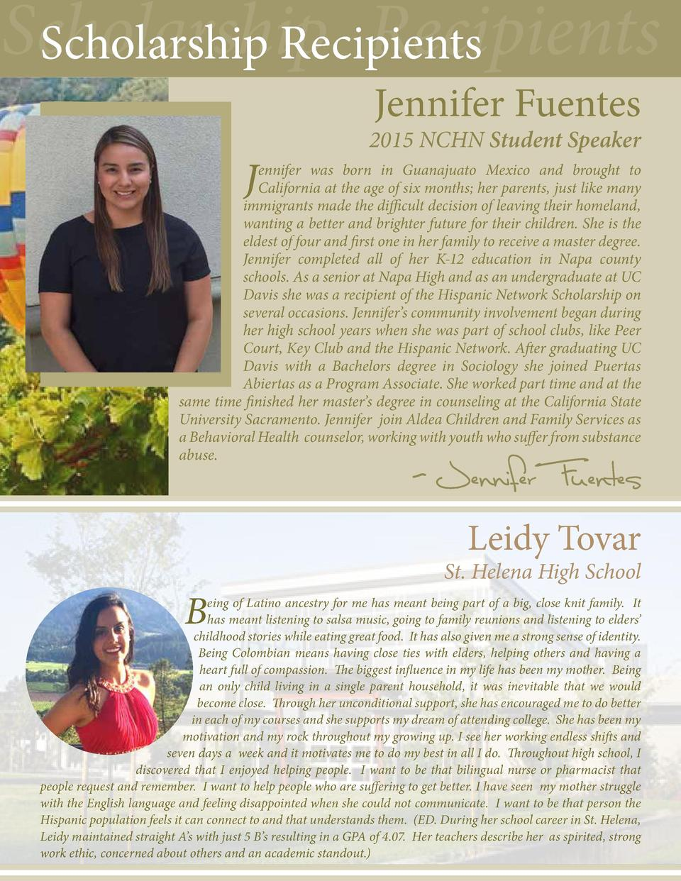 Scholarship Recipients Scholarship Recipients Jennifer Fuentes  J  2015 NCHN Student Speaker  ennifer was born in Guanajua...