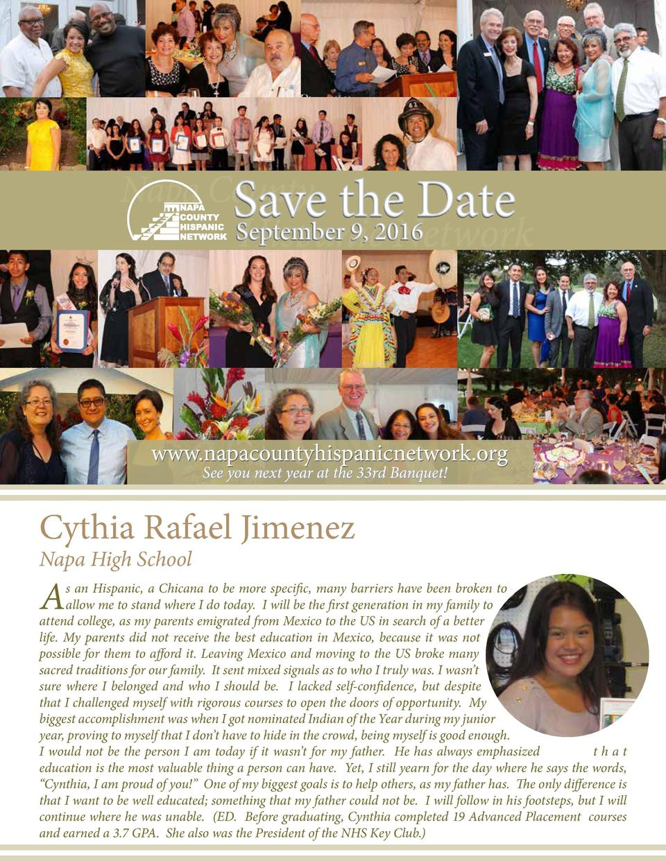 www.napacountyhispanicnetwork.org See you next year at the 33rd Banquet   Cythia Rafael Jimenez Napa High School  A  s an ...