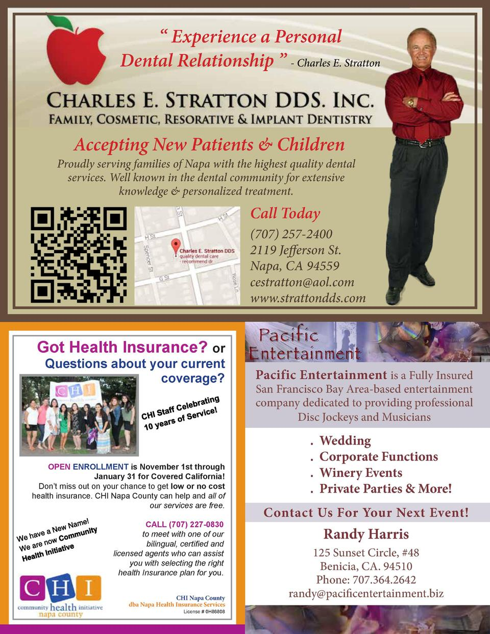 Experience a Personal Dental Relationship     - Charles E. Stratton  Accepting New Patients   Children  Proudly servin...