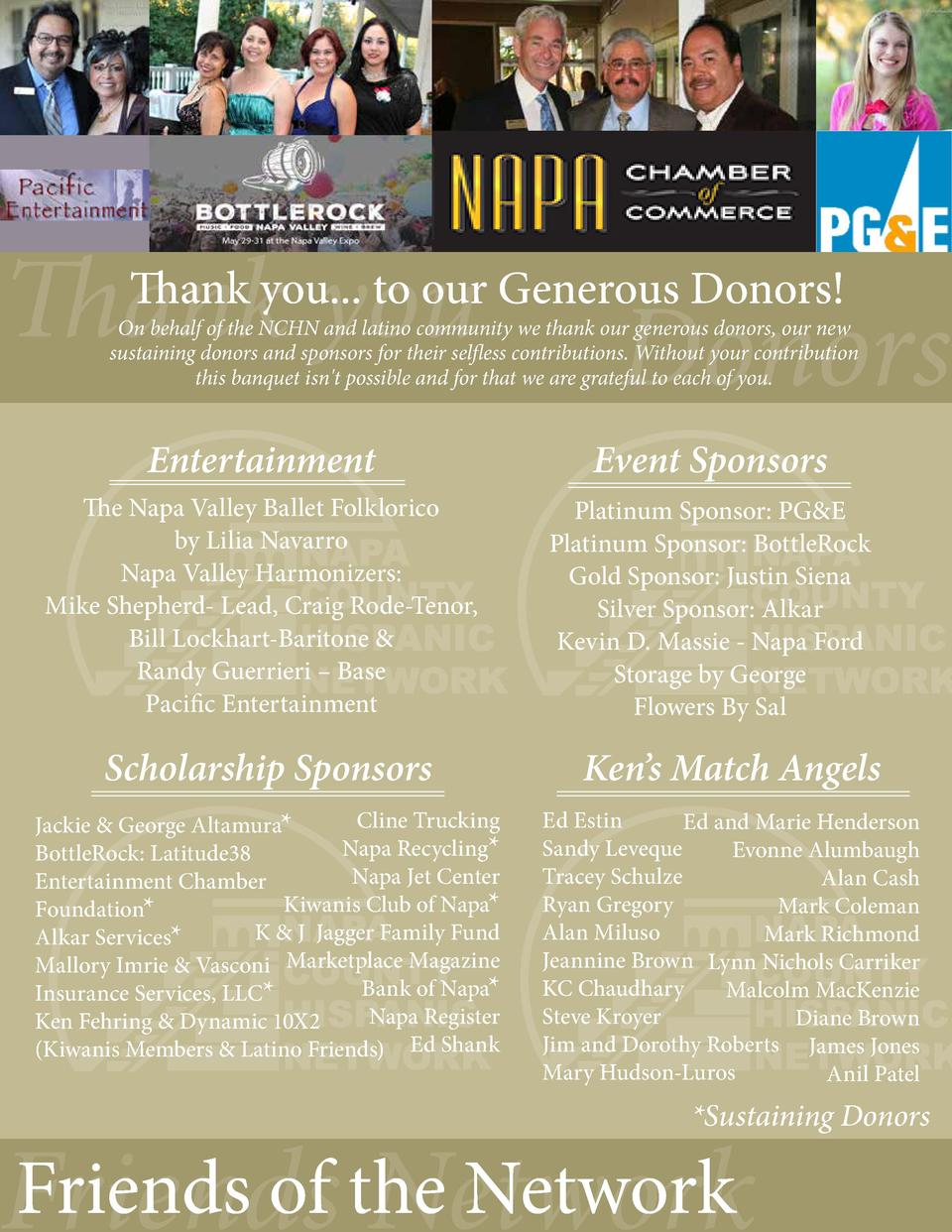 Thank you  Thank you... to our Generous Donors   Donors  On behalf of the NCHN and latino community we thank our generous ...