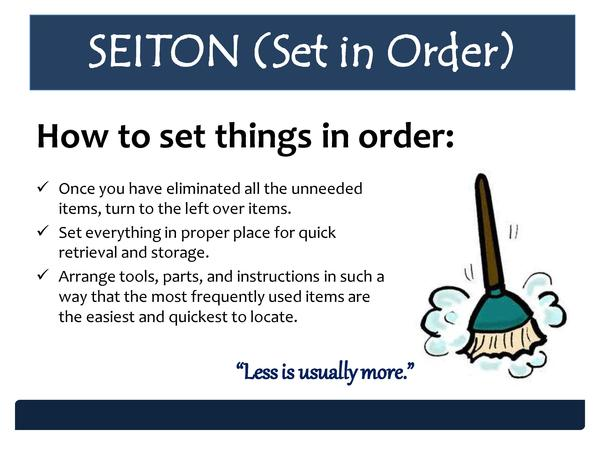 SEITON  Set in Order  How to set things in order      Once you have eliminated all the unneeded items, turn to the left ov...