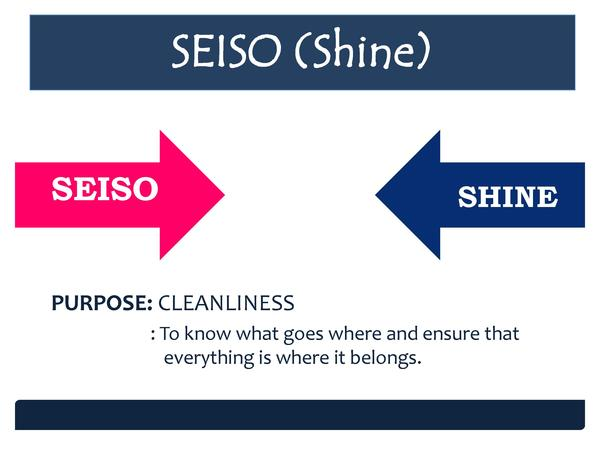 SEISO  Shine  SEISO SEISO  SHINE SHINE  PURPOSE  CLEANLINESS   To know what goes where and ensure that everything is where...