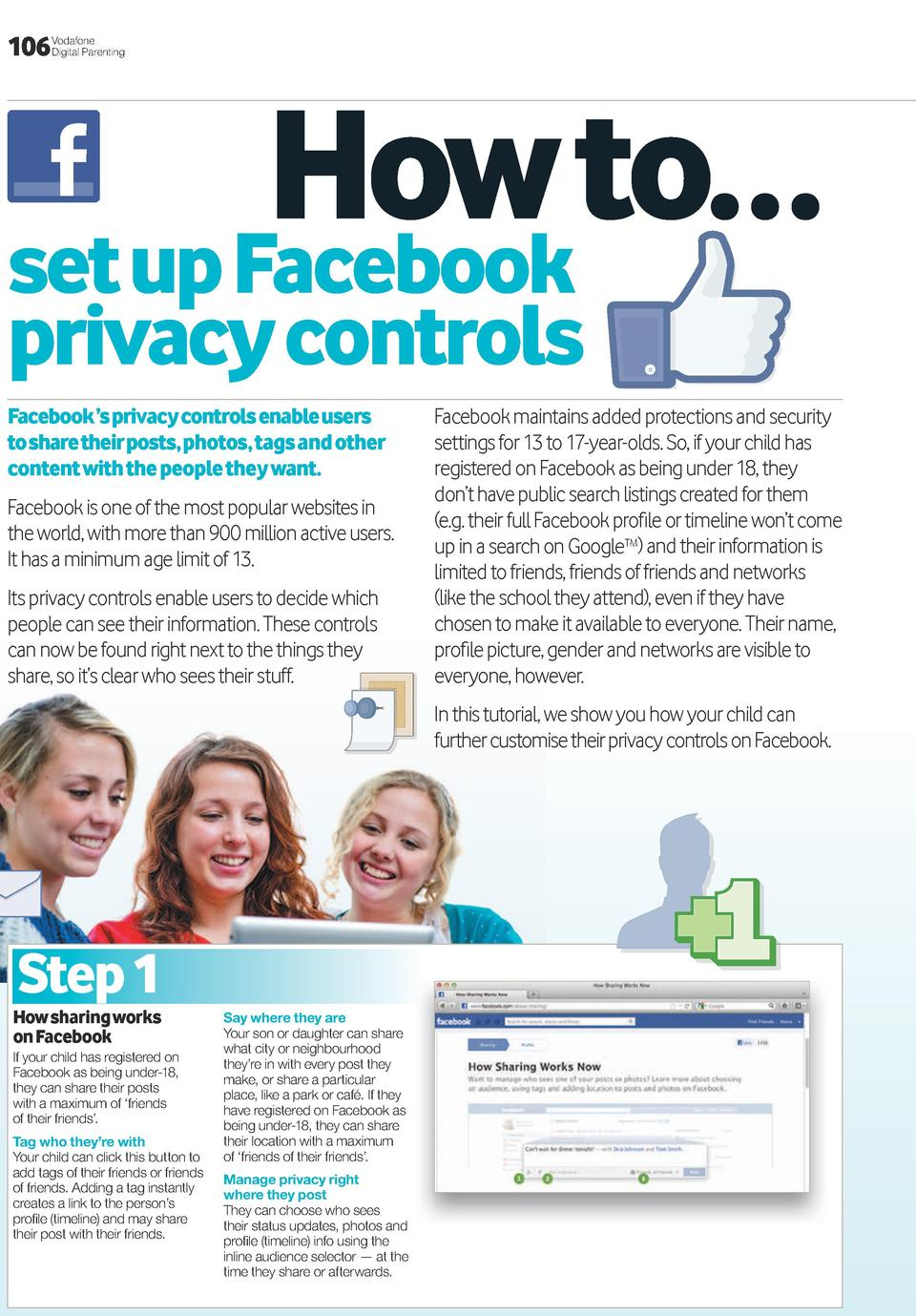 106  Vodafone Digital Parenting  how to    set up Facebook privacy controls Facebook    s privacy controls enable users to...