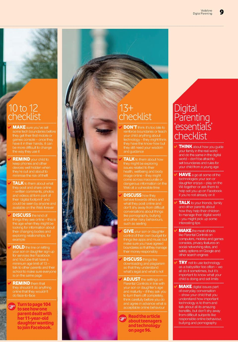 Vodafone Digital Parenting  10 to 12 checklist  MAKE sure you   ve set  some tech boundaries before they get their first m...