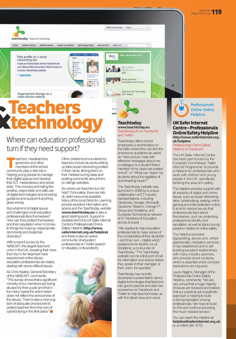 Vodafone Digital Parenting  Teachers technology     Where can education professionals turn if they need support   T  eache...