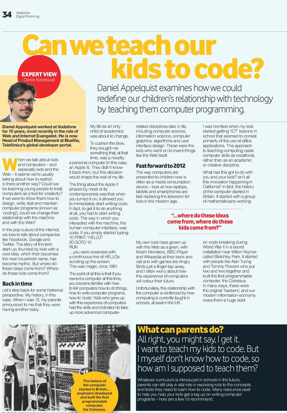34  Vodafone Digital Parenting  Can we teach our kids to code  EXPERT VIEW Daniel Appelquist  Daniel Appelquist examines h...