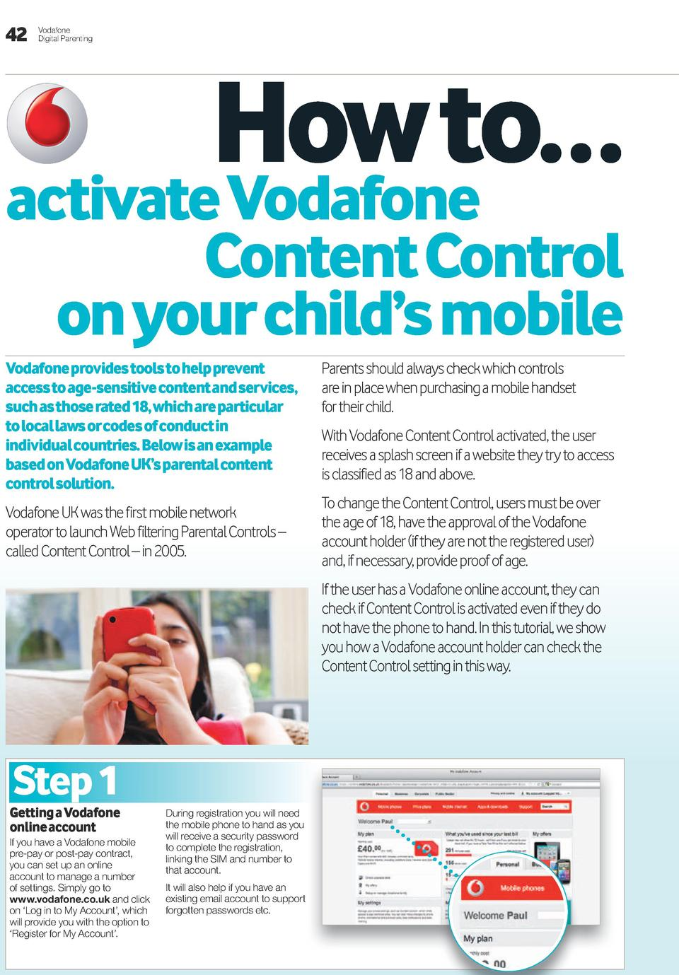 42  Vodafone Digital Parenting  how to    activate Vodafone content control on your child   s mobile  Vodafone provides to...
