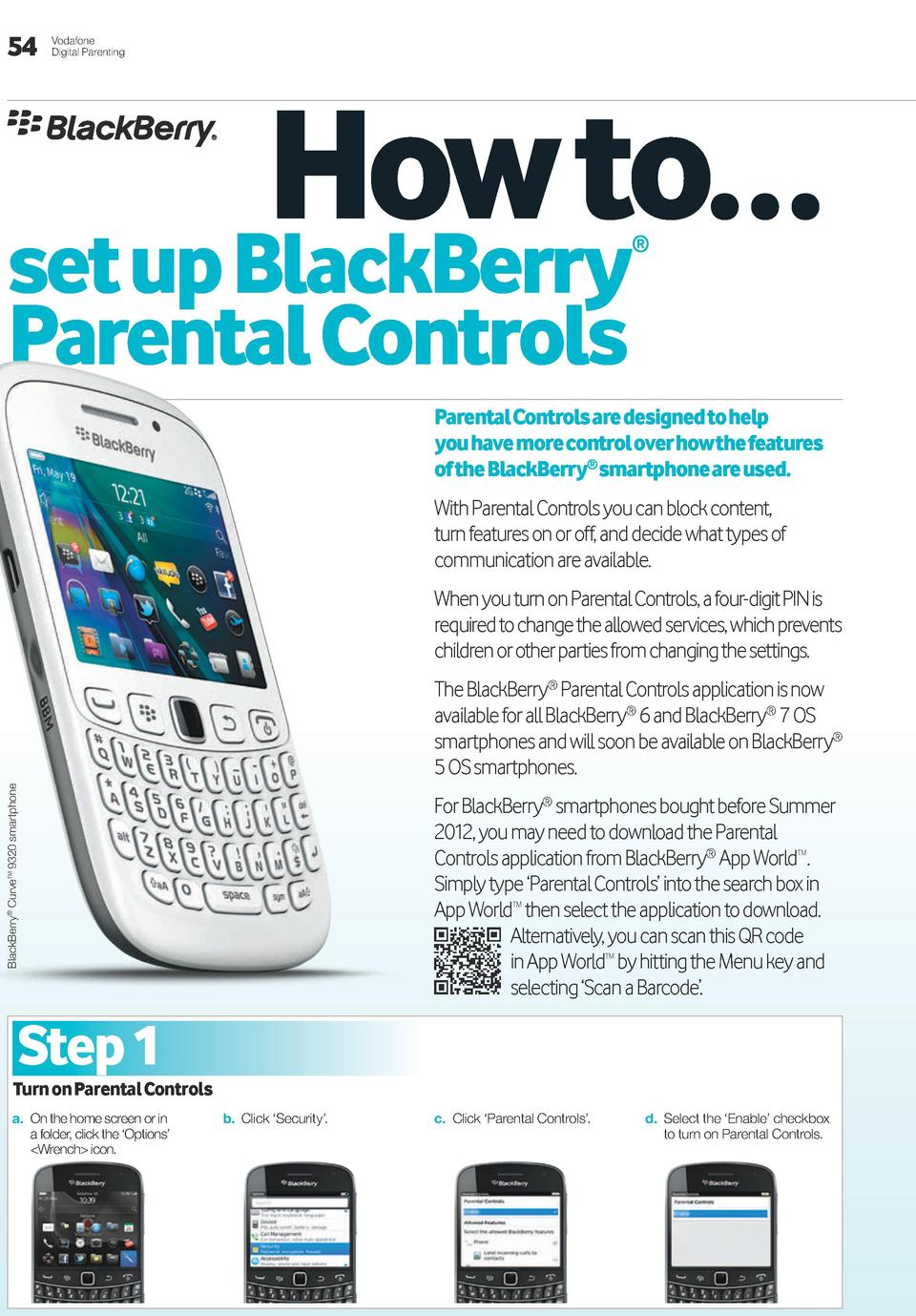54  Vodafone Digital Parenting  how to    set up BlackBerry     Parental controls  Parental controls are designed to help ...