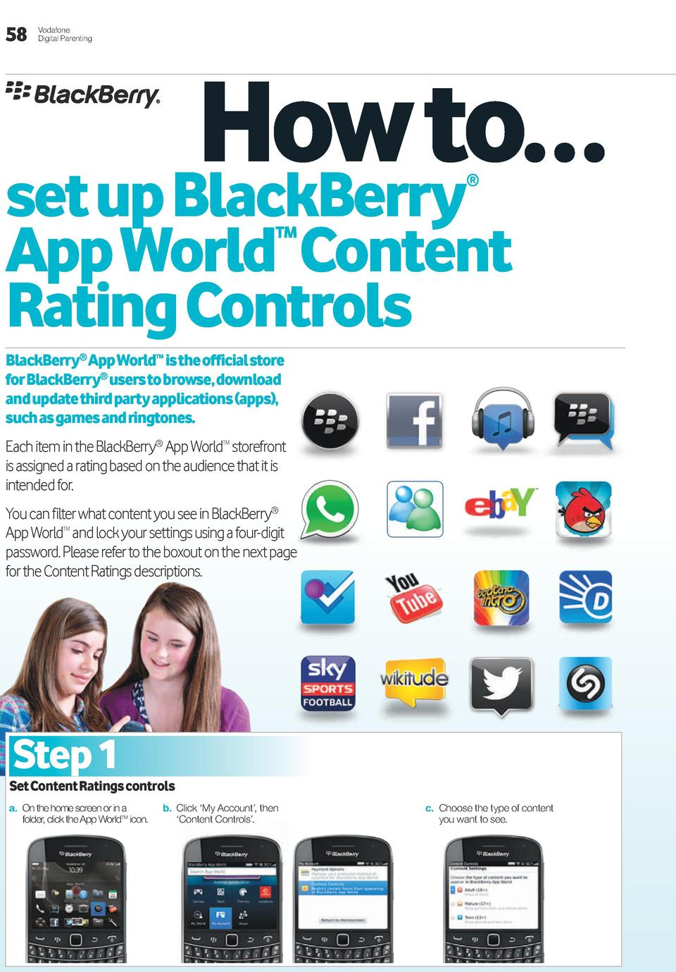 58  Vodafone Digital Parenting  how to    set up BlackBerry     app World content Rating controls TM  BlackBerry   app Wor...
