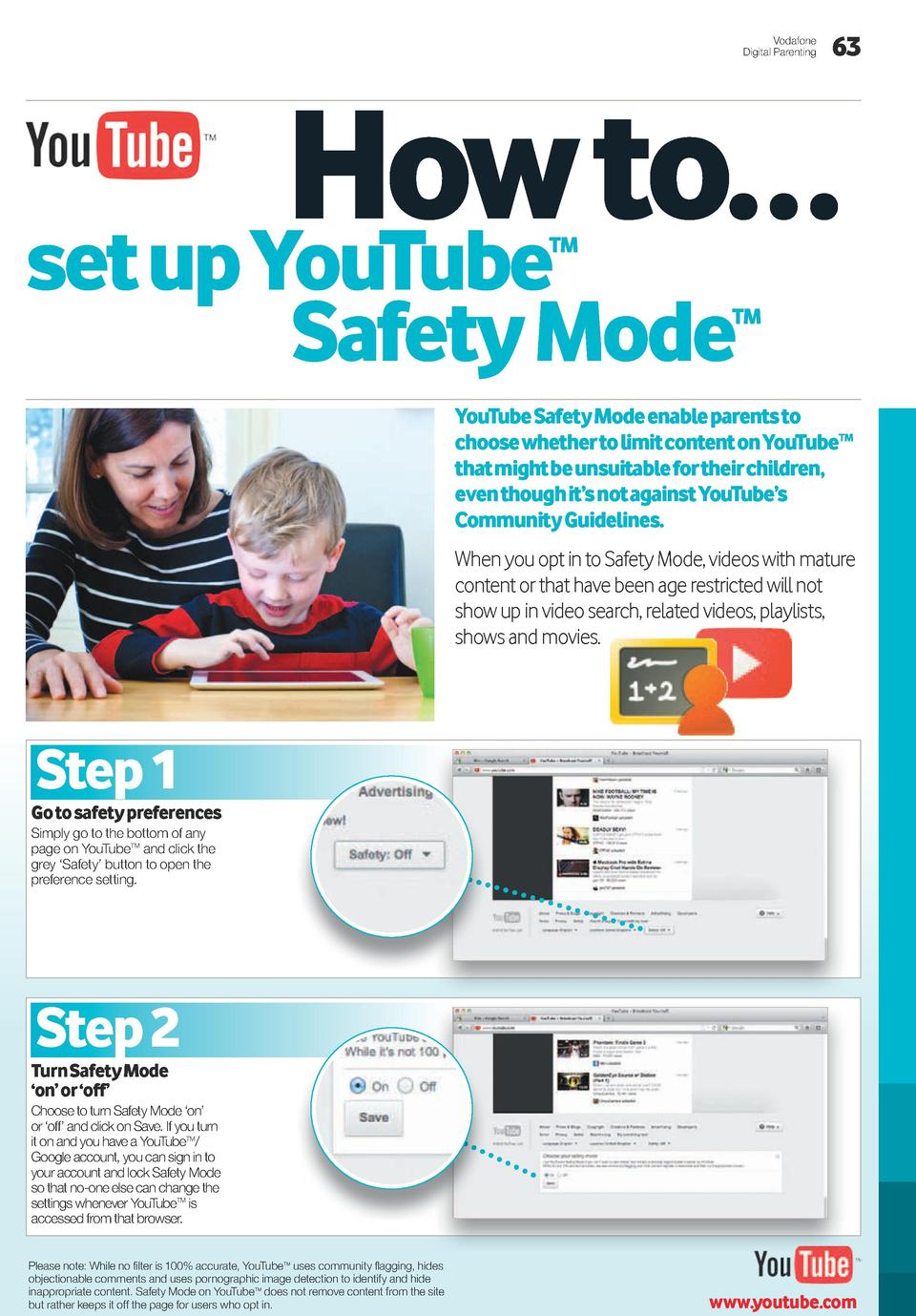 Vodafone Digital Parenting  63  how to    set up youTube TM  Safety Mode  TM  youTube Safety Mode enable parents to choose...