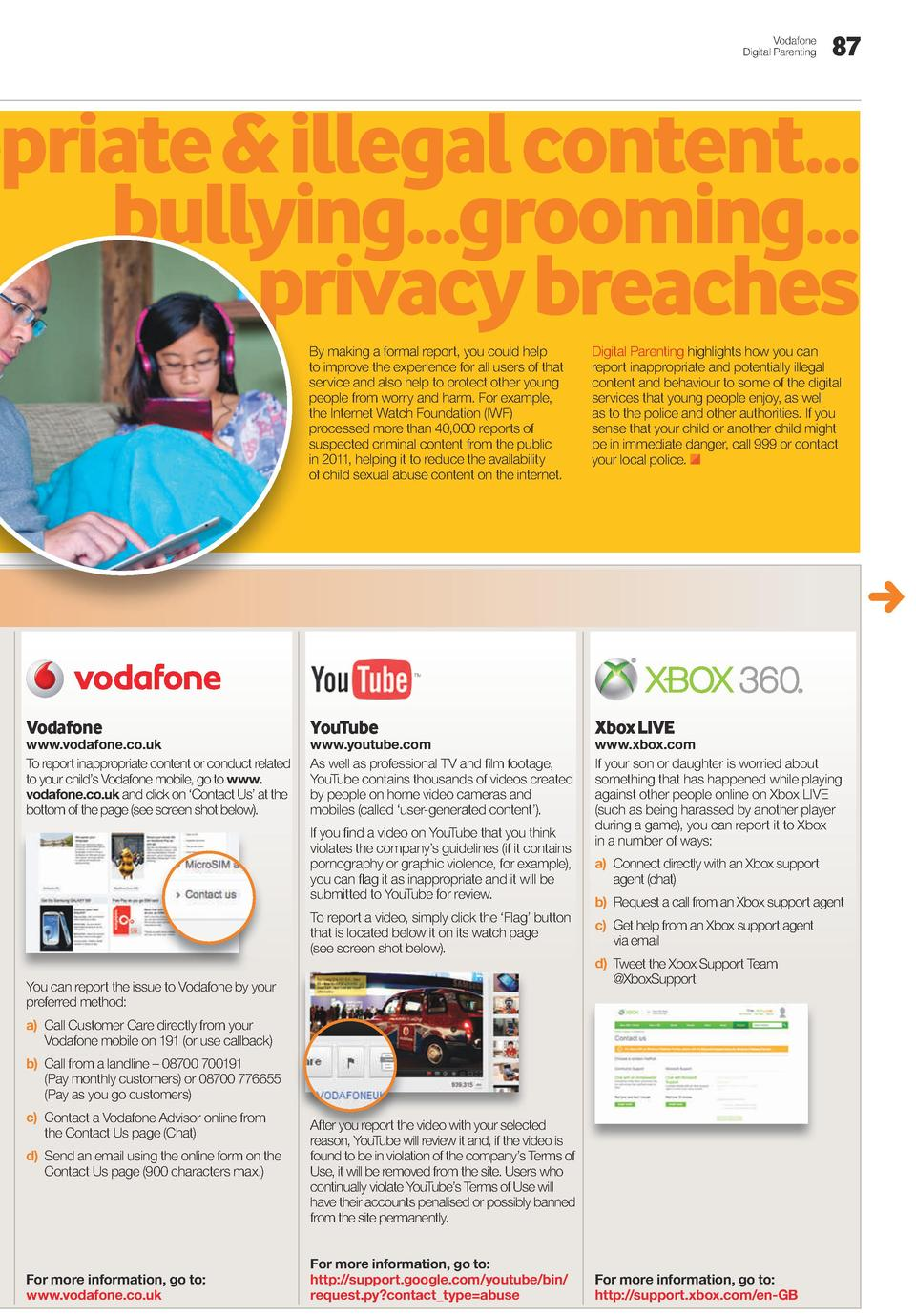 Vodafone Digital Parenting  87  opriate   illegal content... bullying...grooming... privacy breaches By making a formal re...