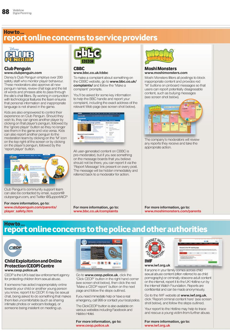 88  Vodafone Digital Parenting  How to      D report online concerns to service providers Club penguin  www.clubpenguin.co...