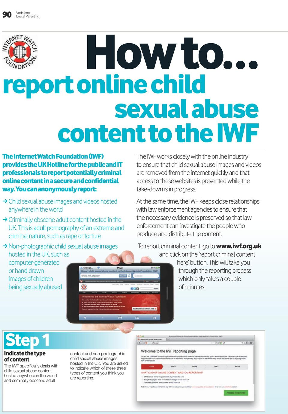 90  Vodafone Digital Parenting  How to    report online child  sexual abuse content to the iwF  the internet watch Foundat...