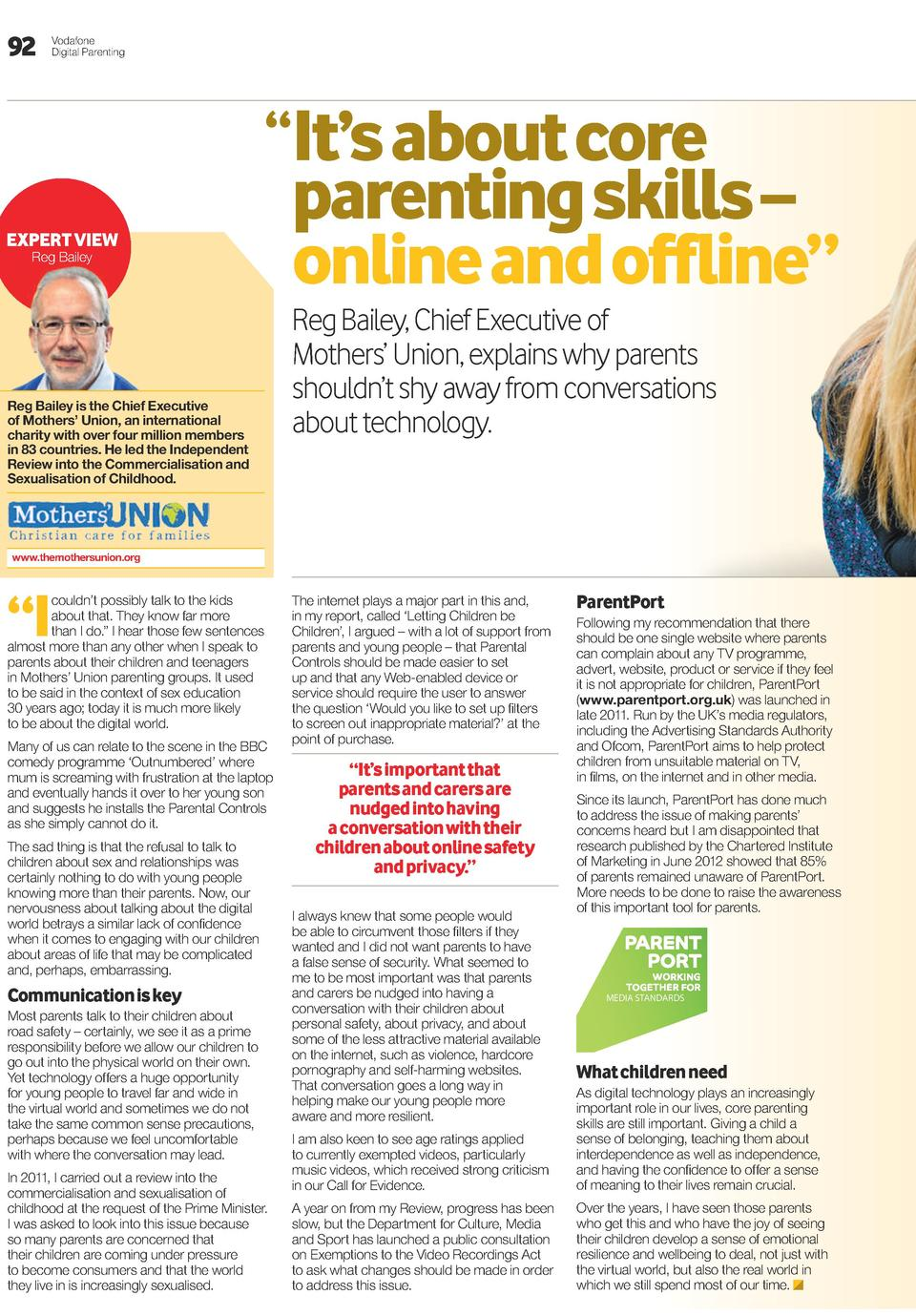 92  Vodafone Digital Parenting     it   s about core ExpErt viEw Reg Bailey  Reg Bailey is the Chief Executive of Mothers ...