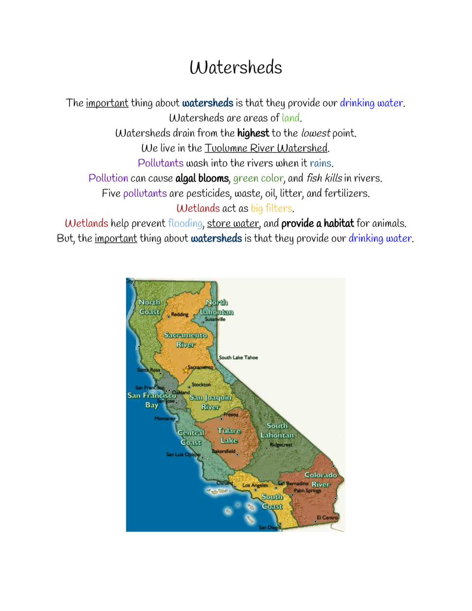 Watersheds The     important    about     thing watersheds    that they provide our     is drinking water    . Watersheds ...