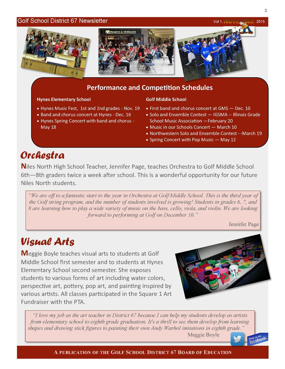 3  Golf School District 67 Newsletter  Vol 1,  2015  Performance and Competition Schedules Hynes Elementary School  Golf M...