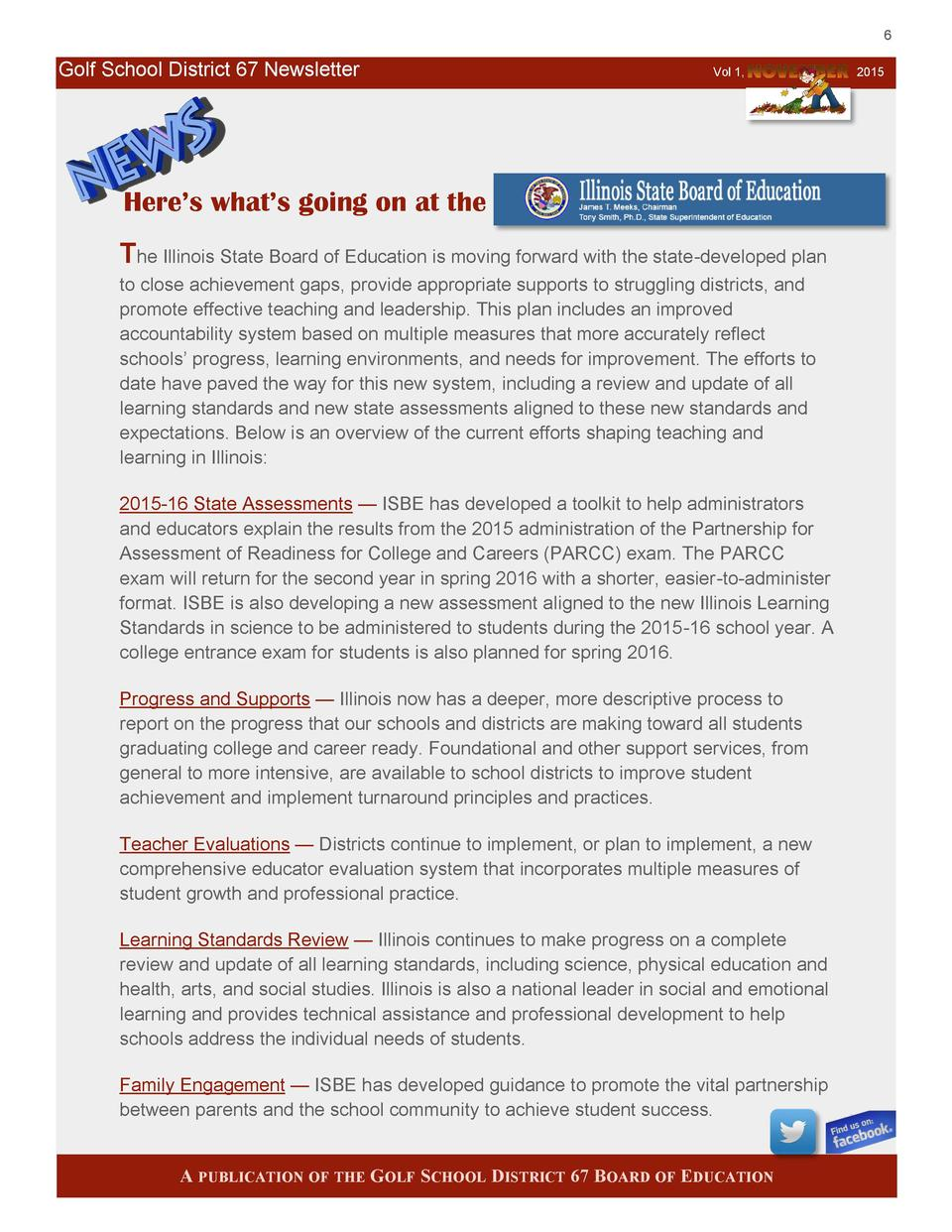 6  Golf School District 67 Newsletter  Vol 1,  Here   s what   s going on at the The Illinois State Board of Education is ...