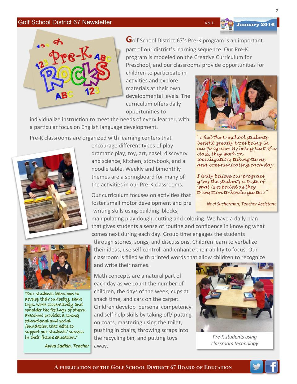 2  Golf School District 67 Newsletter  Vol 1,  Golf School District 67   s Pre-K program is an important part of our distr...