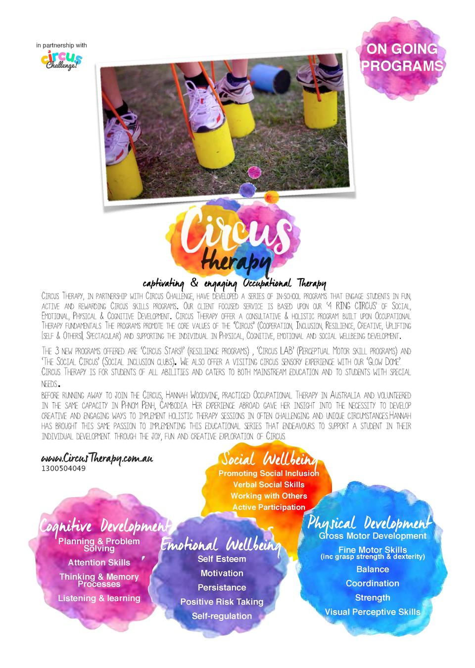 in partnership with  ON GOING   PROGRAMS       captivating   engaging Occupational Therapy  CIRCUS THERAPY, IN PARTNERSHIP...