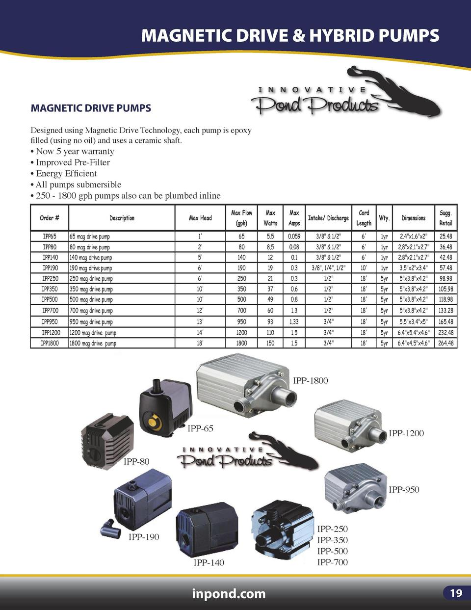 SKIMMERS  MAGNETIC DRIVE   HYBRID PUMPS  MAGNETIC DRIVE PUMPS Designed using Magnetic Drive Technology, each pump is epoxy...