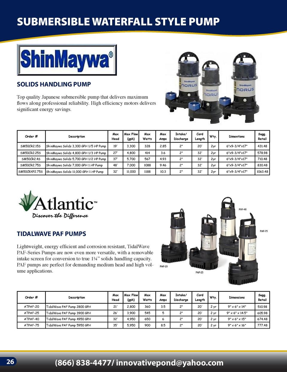 SUBMERSIBLE WATERFALL STYLE PUMP  SOLIDS HANDLING PUMP  WATERFALL PUMP  Top quality Japanese submersible pump that deliver...