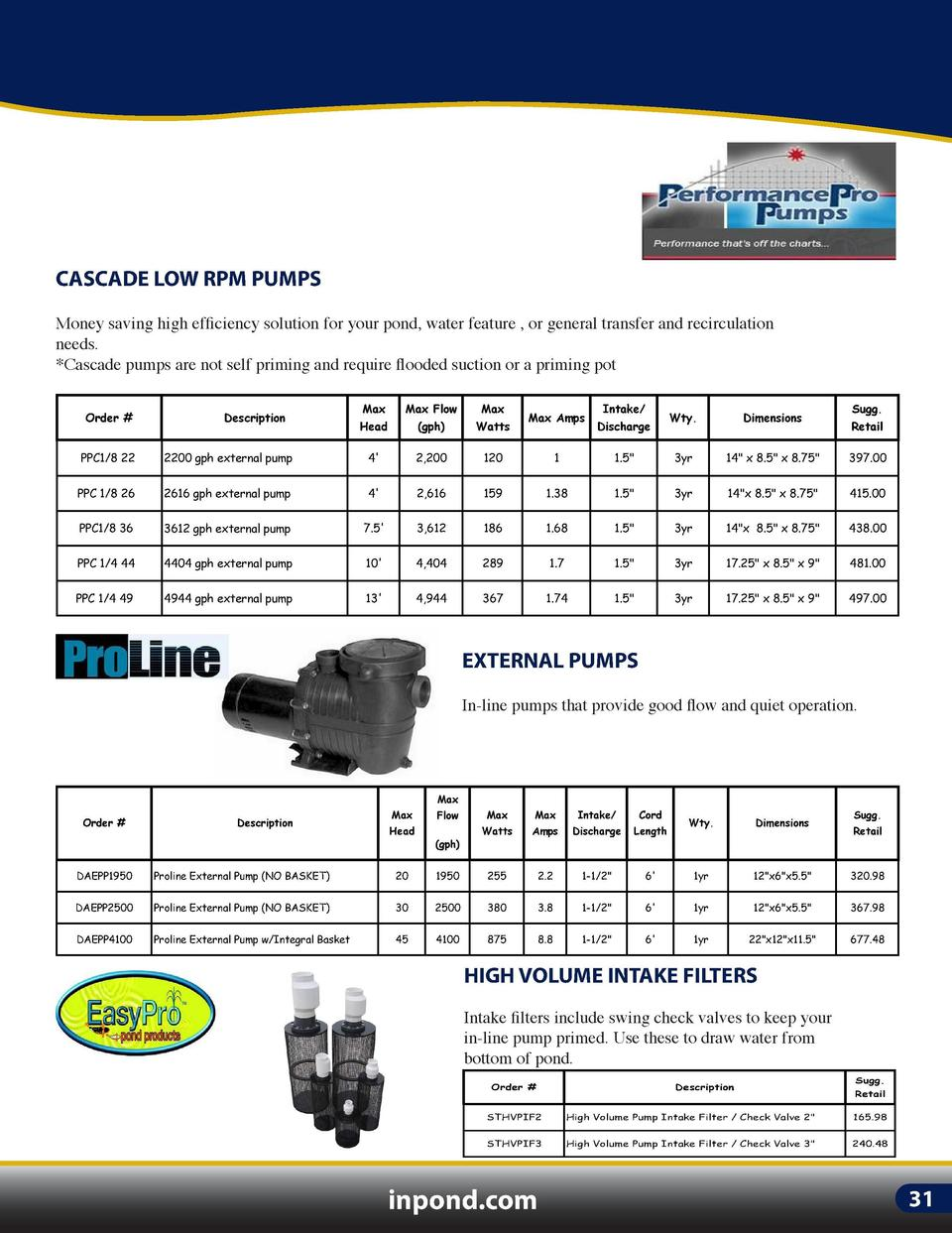 IN-LINE PUMPS  ARTESIANPRO LOW RPM PUMPS  CASCADE LOW RPM PUMPS  ArtesianPro pumps offer larger ports and internal passage...