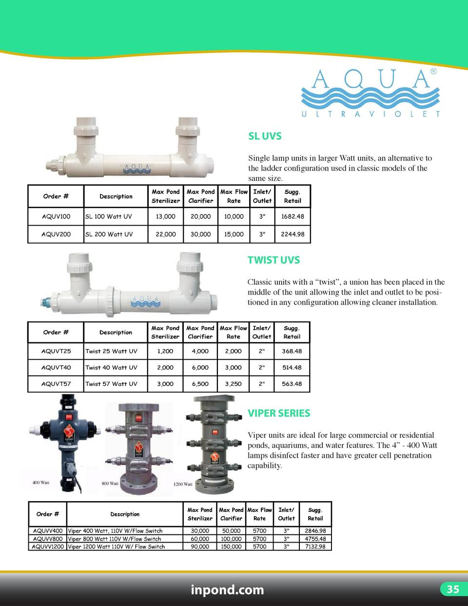 UV LIGHTING  ADVANTAGE UVS  SL UVS  Small compact units designed for small ponds and aquariums.  Single lamp units in larg...