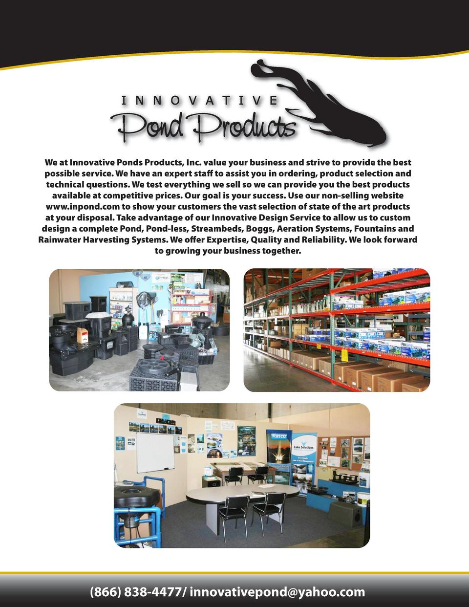 TABLE OF CONTENTS  We at Innovative Ponds Products, Inc. value your business and strive to provide the best possible servi...