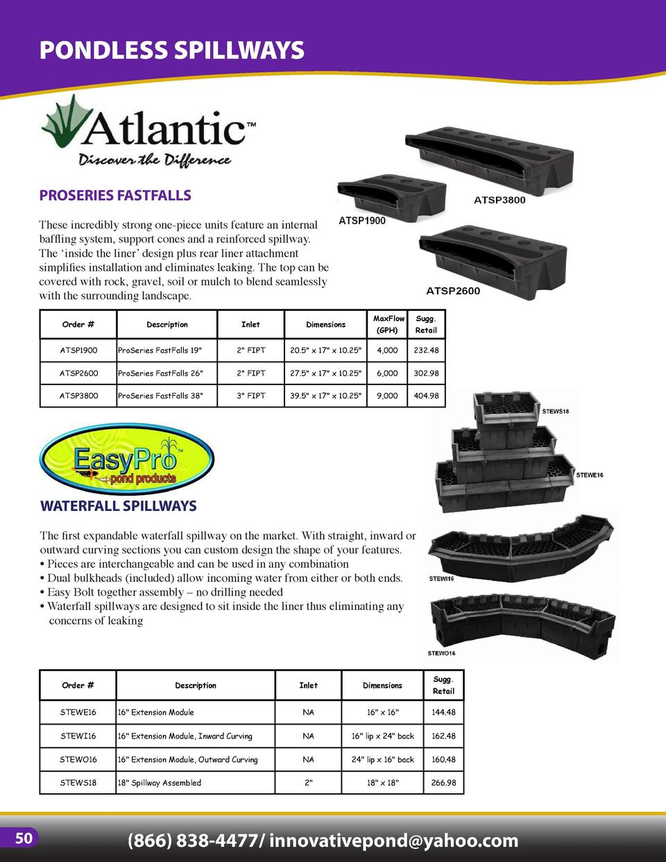 PONDLESS SPILLWAYS  PONDLESS VAULTS   MATRIX  PROSERIES FASTFALLS  ECO-SERIES SPILLWAY  These incredibly strong one-piece ...