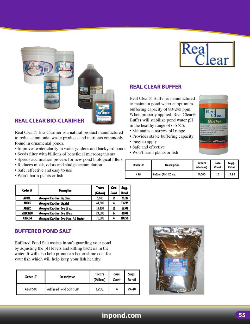 POND TREATMENTS  REAL CLEAR WATER TREATMENTS Real Clear Water Treatment products are the most powerful in the  industry, e...