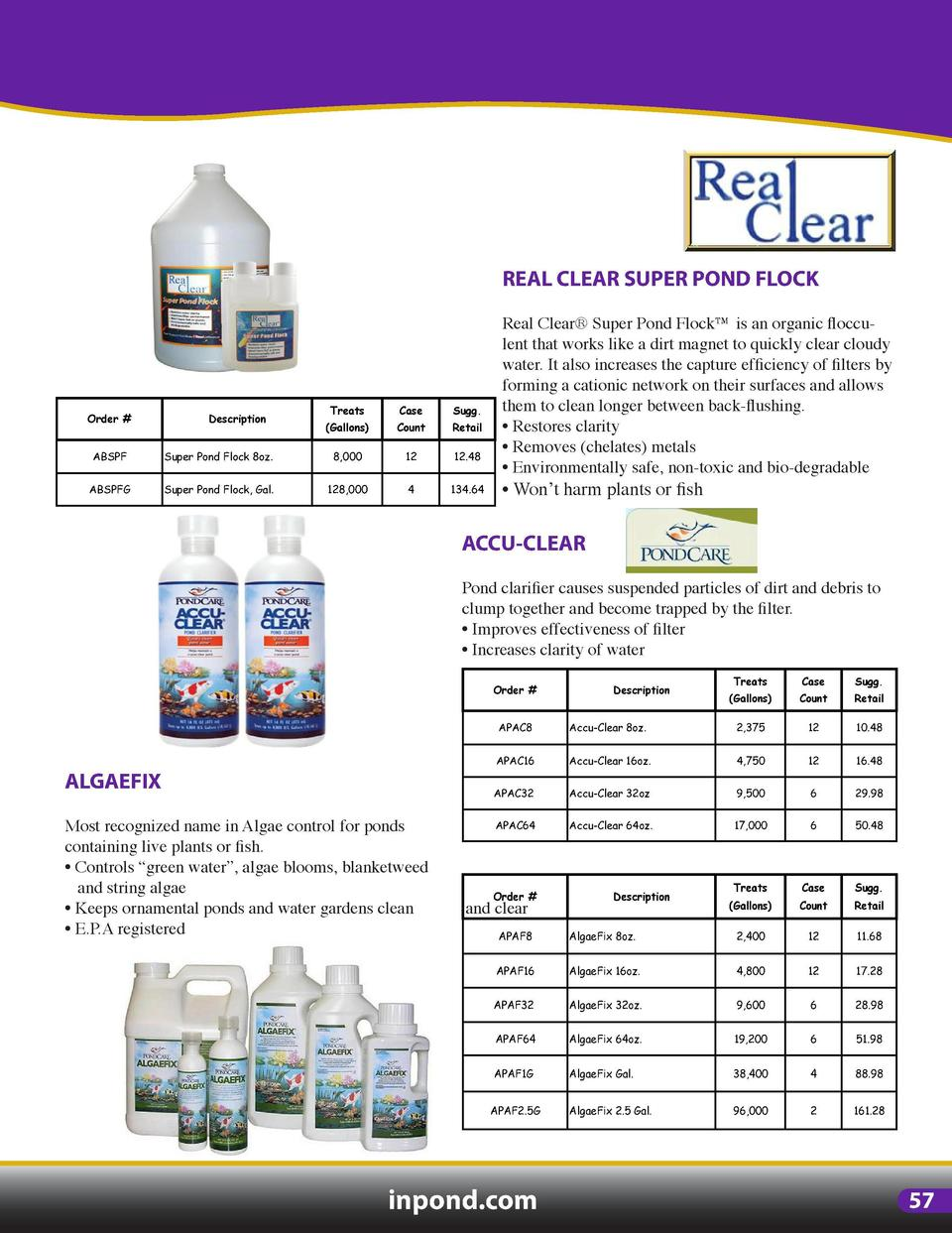 POND TREATMENTS  REAL CLEAR SUPER POND FLOCK  REAL CLEAR DECHLORINATOR Real Clear   Dechlorinator safely removes harmful c...