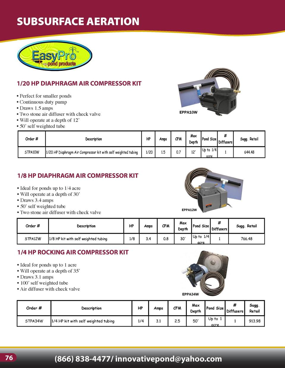 SUBSURFACE AERATION  1 4 HP HIGH VOLUME ROTARY VANE COMPRESSOR KIT     For ponds 1 acre and larger, or two smaller ponds  ...