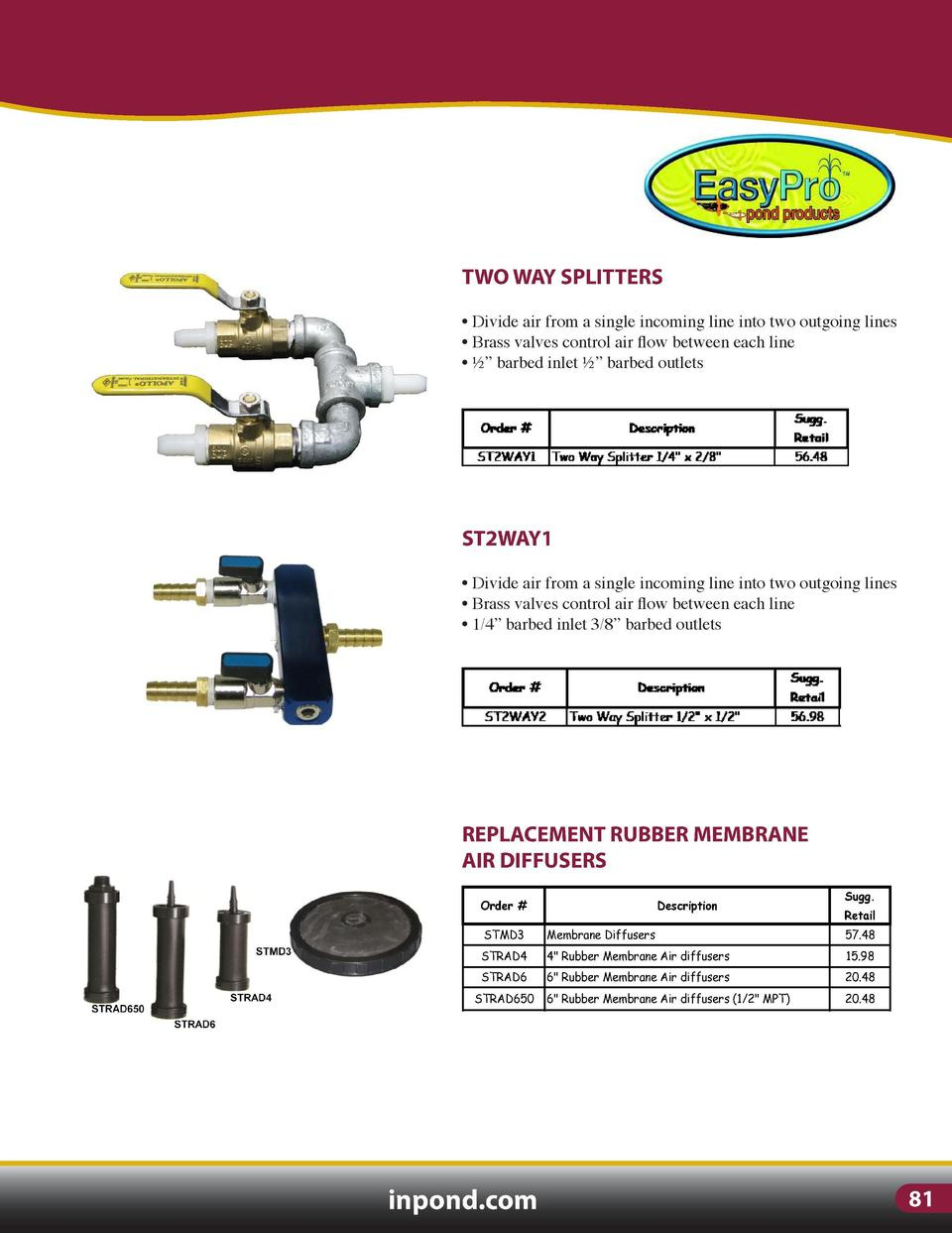 SUBSURFACE AERATION  TWO WAY SPLITTERS  MEMBRANE DIFFUSER ASSEMBLIES Order    Sugg.  Description      Divide air from a si...