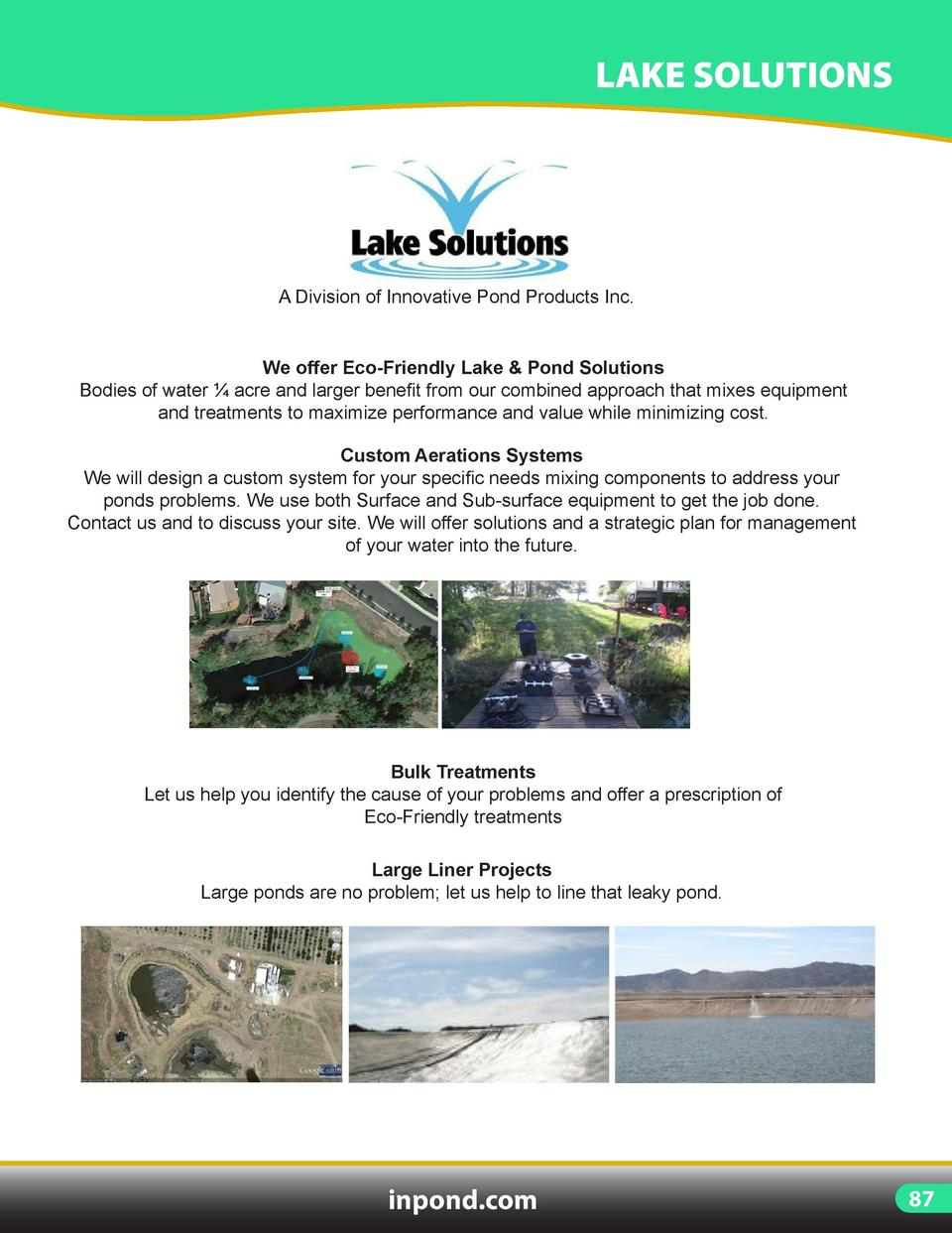 LARGE POND   LAKE  LAKE SOLUTIONS  DELUXE LAKE RAKE  A Division of Innovative Pond Products Inc.  36    Lake Rake comes wi...