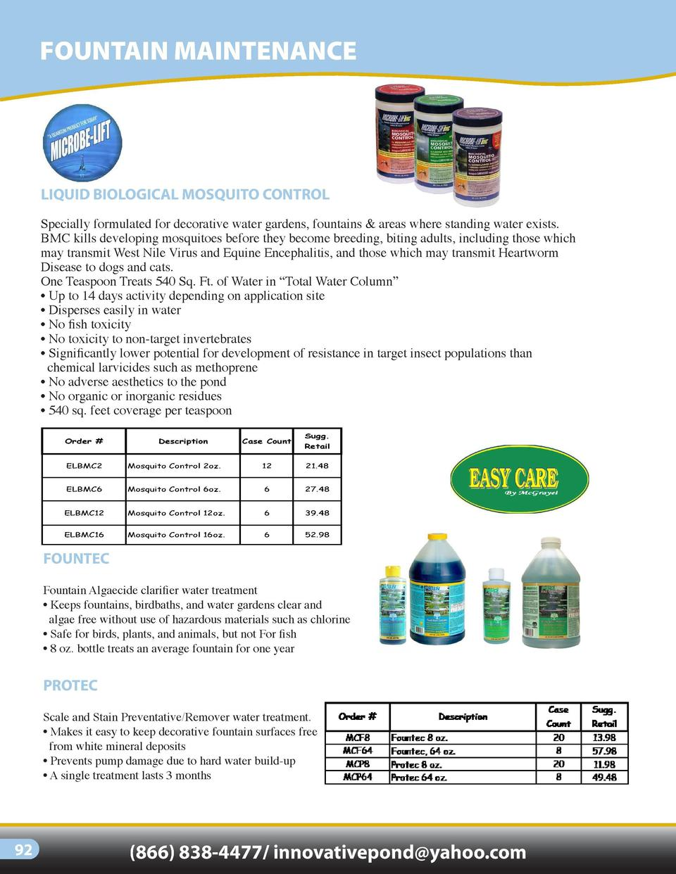 FOUNTAIN MAINTENANCE  LIQUID BIOLOGICAL MOSQUITO CONTROL Specially formulated for decorative water gardens, fountains   ar...