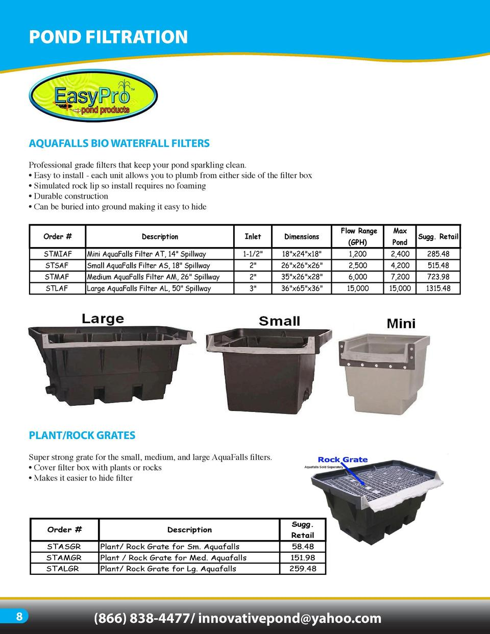 POND FILTRATION  AQUAFALLS BIO WATERFALL FILTERS  WATERFALL   VERSATILE FILTER  Professional grade filters that keep your ...