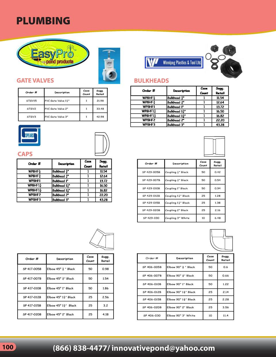 PLUMBING  GATE VALVES  BULKHEADS  Order    Description  Case  Sugg.  Count  Retail  SP 435-005B  Female Adapter     Black ...