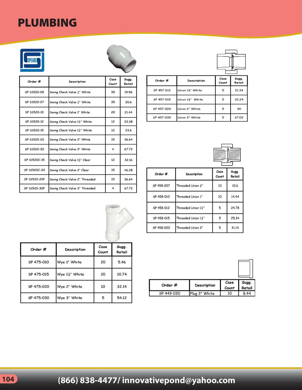 PLUMBING  INDEX     Order    Case  Sugg.  Count  Description  Retail  Order    Description  Case  Sugg.  Count  Retail  Sw...